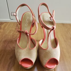 Aldo Suede T-Strap Platform Heels